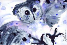 Midnight Owl Painting by Dawn Derman