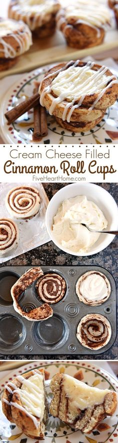 Cream Cheese Filled Cinnamon Roll Cups ~ fit refrigerated cinnamon rolls in a muffin pan, fill with sweetened cream cheese, bake until golden, and then drizzle with icing Just Desserts, Delicious Desserts, Dessert Recipes, Yummy Food, Cinnamon Roll Muffins, Cinnamon Rolls, What's For Breakfast, Breakfast Dishes, Breakfast Recipes