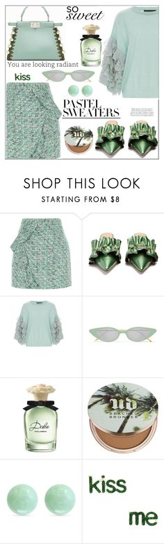 """So Sweet: Pastel Sweaters"" by pat912 ❤ liked on Polyvore featuring River Island, Rue St., Tabula Rasa, Illesteva, Dolce&Gabbana, Urban Decay, Effy Jewelry, polyvoreeditorial and pastelsweaters"