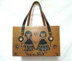 2141fbdd33ef Vintage Enid Collins of Texas Zodiac Box Wood Bag Purse Handbag Gemini  w/mirror