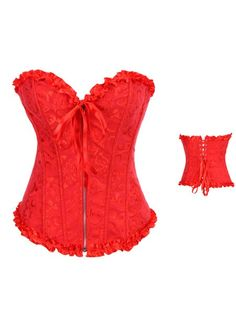 Red Embroidery Corset Overbust ==>> Wholesale Price #lingeriefirst