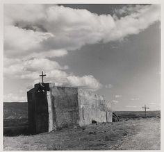 Georgia O'Keeffe painted her Black Crosses after seeing these in 1929 on her first visit to Taos, NM. Penitente Morada, Abiquiu, New Mexico, by Todd Webb 1981