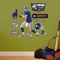 Fathead NY Giants Eli Manning Jr Wall Graphic - Wall Sticker Outlet