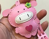 Small size - Polly the Pig cowhide leather charm ( Baby Pink )