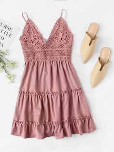 To find out about the Lace Panel Tiered Seam Cami Dress at SHEIN, part of our latest Dresses ready to shop online today! Summer Dresses For Women, Spring Dresses, Summer Outfits, Cute Outfits, Dress Summer, Cute Dresses, Casual Dresses, Women's Dresses, Sheath Dresses
