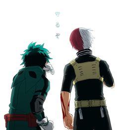boku no hero academia, izuku midoriya, and todoroki shouto