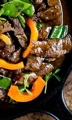 Beef Stir-Fry with Peppers and Pea Shoots