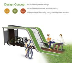 Econology Life Bicycle Shelter Combines Nature and Eco Friendly Technology - Tuvie Landscape Architecture Design, Green Architecture, Rack Velo, Outdoor Bike Storage, Bike Shelter, Bike Parking, Parking Lot, Urban Design Plan, Bike Shed