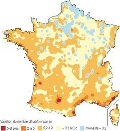 Carte 7 - Variation annuelle de la densité de population due au solde migratoire apparent entre 1999 et 2006