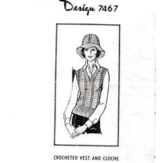 Crochet Pullover Vest Pattern -- sleeveless pullover with matching hat    l  Mail Order Design 7467  l  Vintage Knit Crochet Pattern Shop