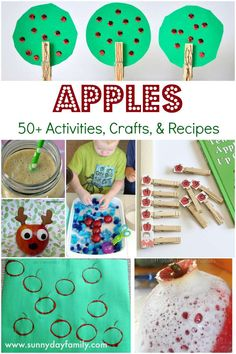 Apple ideas I love! More than 50 apple activities, crafts, & recipes plus 12 awesome features. Educational Activities For Preschoolers, Apple Activities, Creative Activities For Kids, Creative Arts And Crafts, Painting For Kids, Art For Kids, Crafts For Kids, Apple Ideas, Toddler Art Projects