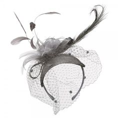 Feather Sinamay Cocktail Fascinator - Grey