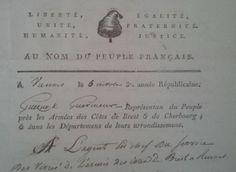 Liberté, égalité, unité. Justice à tous. Paix aux bons. Guerre aux méchans. Patrie. République française. #Revolution #FrenchRevolution #oldpapers #entete #archives