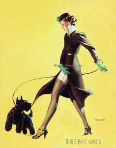 """Pin Up By Gil Elvgren """"man's best friend"""" Pinup Art, Gil Elvgren, Pin Up Vintage, Vintage Art, Vintage Style, Vintage Metal, Retro Style, Vintage Photos, Vintage Ladies"""