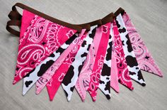 Cowgirl Pink & brown bandana banner flag bunting, Western, Horse, Barn, brown cow horse print, Cowgirl Birthday party decoration, photo prop by GiddyGumdrops on Etsy https://www.etsy.com/listing/184878210/cowgirl-pink-brown-bandana-banner-flag