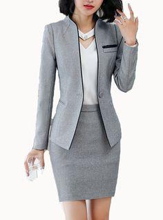 Women s work business spring fall regular blazer solid colored stand long sleeve polyester black gray xxl xxxl xxxxl slim Blazer Outfits, Blazer Fashion, Fashion Outfits, Blazer Dress, Sleevless Blazer, Dress Outfits, Casual Blazer, Blazer Suit, Casual Wear