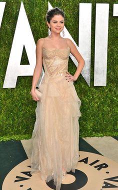 Selena Gomez in a cream Atelier versace gown, Vanity Fair Oscars Party 2013, Oscars 2013