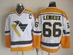 Pittsburgh Penguins 66 Mario Lemieux CCM Vintage Hockey Jersey - Orange  White Black  Pittsburgh Penguins 62871440b