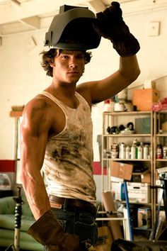 Jared Padalecki in grease and wife beater shirts