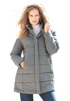 5583a7c6b08 Amazon.com  Roamans Plus Size Quilted Short Parka  Clothing Blue Coats