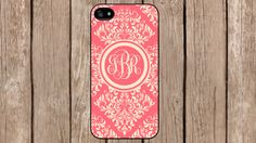 Personalized Monogram Demask Light Red Beige for iPhone 4/4s/5/5s/5c Samsung Galaxy S3/S4/S5/Note 2/Note 3 by TopCraftCase, $6.99