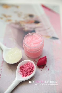 DIY Tinted Lip Balm. Make with rose water.