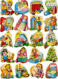 Láminas de cromos troquelados- Juguetes Christmas Decals, Christmas Candy, Printable Paper, Printable Vintage, Illustrations, Baby Kind, Little People, Sticker Paper, Vintage Children