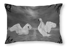 Swans Throw Pillow featuring the drawing Nocturnal Dance by Faye Anastasopoulou