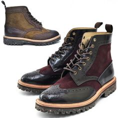 Two Tone Suede Mix Wingtip Boots-Shoes 351 by Guylook.com