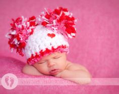 READY Baby Girl Hat Baby Hat Soft White and Pink with от PamKR
