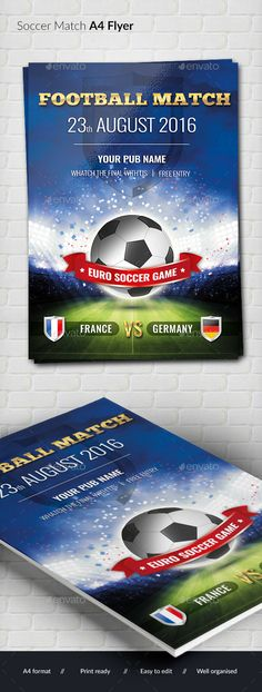Football Soccer A4 Flyer by out00 Elegant A4 (297210) flyer/poster perfect to promote your footbal event. print ready CMYK, 300 dpi 3 mm bleed free fonts used: Chun