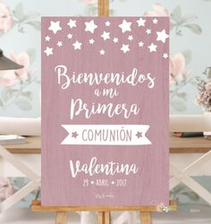 cartel bienvenido comunion rosa First Communion Decorations, Ideas Para Fiestas, Halloween 2019, Party Fashion, Christening, Marie, Place Card Holders, Baby Shower, Diy Crafts