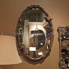 Bird on A Branch Gold Leaf Oval Wall Mirror Forged Iron | eBay