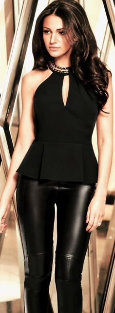 Women's fashion   Faux leather pants and peplum top