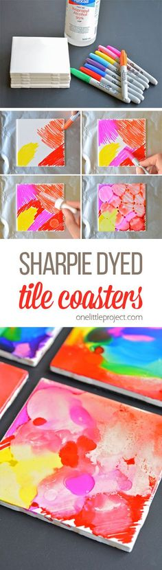 These Sharpie dyed tile coasters are SO BEAUTIFUL and they're really easy! Wouldn't they make a thoughtful homemade gift idea? No one would ever guess how simple they are to make!
