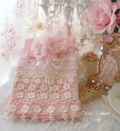 I bought plain towels and added lace to them ~ They were beautiful, like these ~ Victorian hand towels*