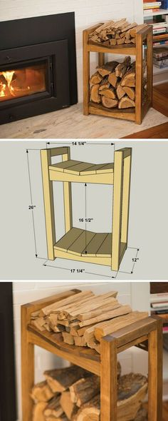 Keep your fireplace stocked with this firewood storage rack. The lower area holds your fire logs securely, while the upper area is a great place for keeping kindling. You can build one in just a couple of hours using four boards, a miter saw (or circular Woodworking Jigsaw, Best Woodworking Tools, Popular Woodworking, Woodworking Workshop, Woodworking Classes, Woodworking Projects Diy, Diy Wood Projects, Kreg Jig Projects, Woodworking Furniture