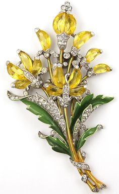 Trifari 'Alfred Philippe' Citrine Demilune Floral Spray Pin Clip - 1942-We love Trifari at Designer Showcase