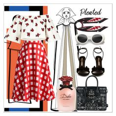 """""""Pleated and Patterns"""" by bapeii ❤ liked on Polyvore featuring Chicwish, House of Holland, Rockins, Sophia Webster, Dolce&Gabbana, Yves Saint Laurent and pleatedskirts"""