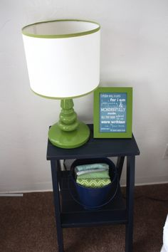 green and navy boy room