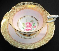 Royal Stafford England Berry Pink Gold Rose teacup and saucer