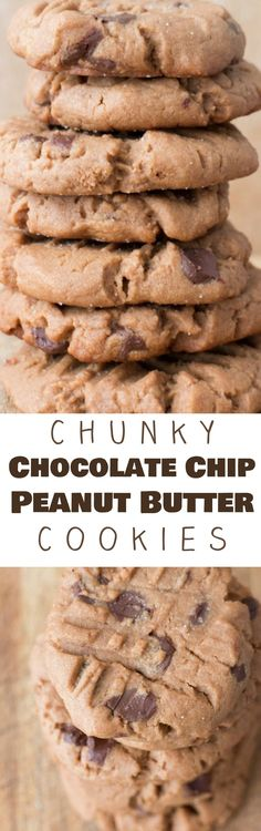 "CHUNKY CHOCOLATE CHIP Peanut Butter Cookies that everyone is going to love!  This easy from scratch cookie recipe is one of my most requested and is considered ""the best"" at bake sales!  These homemade cookies combine chocolate and peanut butter to make one delicious cookie!"