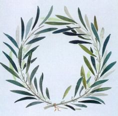 olive branch wreath watercolor to encircle a monogram
