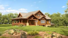 PoplarPeak - Woodhouse The Timber Frame Company Stone Cottages, Cabins And Cottages, Cabin Homes, Log Homes, House Outside Design, House Design, Style At Home, Cabana, Timber Frame Cabin