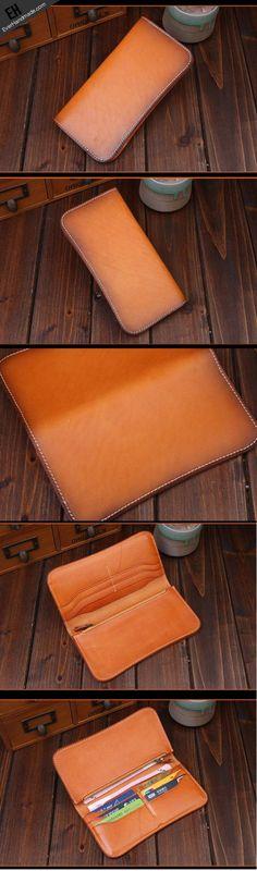 Handmade long wallet leather men brown vintage clutch wallet for men