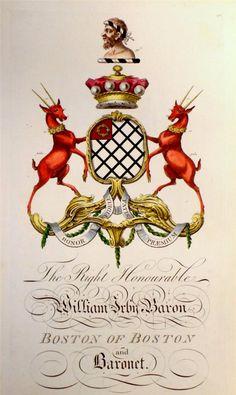 Coat of arms of William Irby (1707-1775), 1st Baron Boston of Boston (GB 1761), Joseph Edmondson's Baronagium Genealogium, London, 1764-1784.