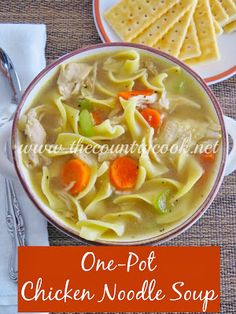 One-Pot Chicken Noodle Soup Recipe - Is there any soup that is more comforting or more reminiscent of our childhoods than this soup? It certainly is for me. In the cold Wintry days, as a kid playing in the snow for hours outside, and then coming into the house and smelling chicken noodle soup bubbling away on the stove. And if you were sick, this was the cure-all to get you back to good health and strength. --- http://www.thecountrycook.net/2013/11/one-pot-chicken-noodle-soup.html