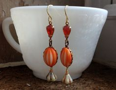 Sabrina Vintage Earrings Orange Glass Cabochon by Scentedlingerie, $20.00