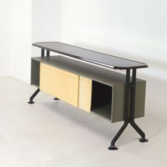 Ginluigi Banfi, Lodovico Belgiojoso, Enrico Peressutti & Ernesto Nathen Rogers (BBPR); Enameled Steel 'Arco' Cabinet for Olivetti, 1960s.