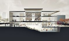 Daegu gosan library competition poc+p architects archinect architecture pan Library Architecture, Cultural Architecture, Architecture Visualization, Architecture Plan, Architecture Concept Diagram, Architecture Graphics, Architecture Drawings, Sections Architecture, Sectional Perspective